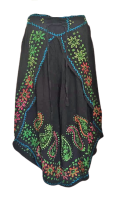 Faux  batik pants with embroidery and shisha mirrors