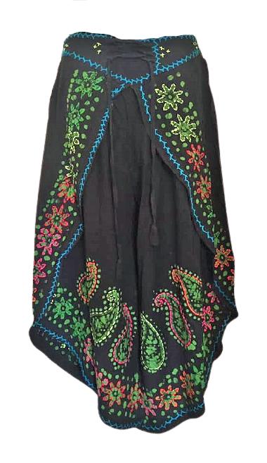 Faux  batik pants with embroidery and shisha mirrors