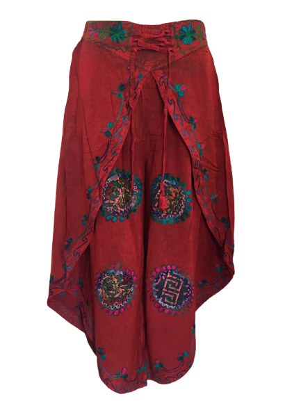 Faux  batik pants with embroidery