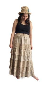 Stevie waterfall boho skirt   [light tan colour]