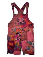 Pretty boho  festival hippy patchwork plus size dungaree shorts