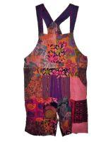 ELIZABETH RESERVED Pretty boho  festival hippy patchwork plus size dungaree shorts