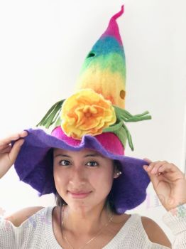 Whimsical witchy flower power felt hat