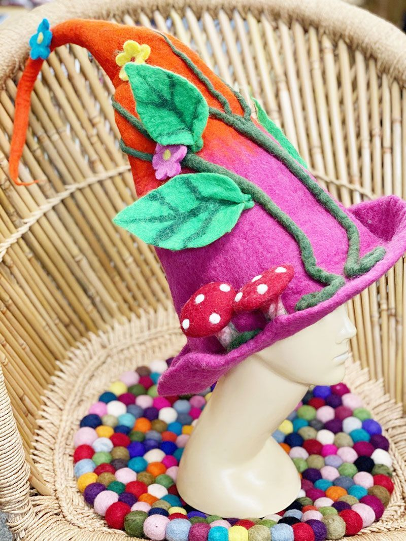 Whimsical witchy forest felt hat