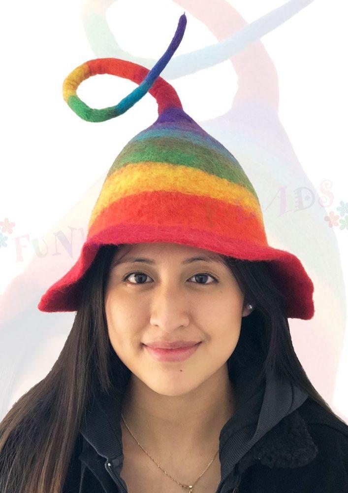 Funky  rainbow felt hat