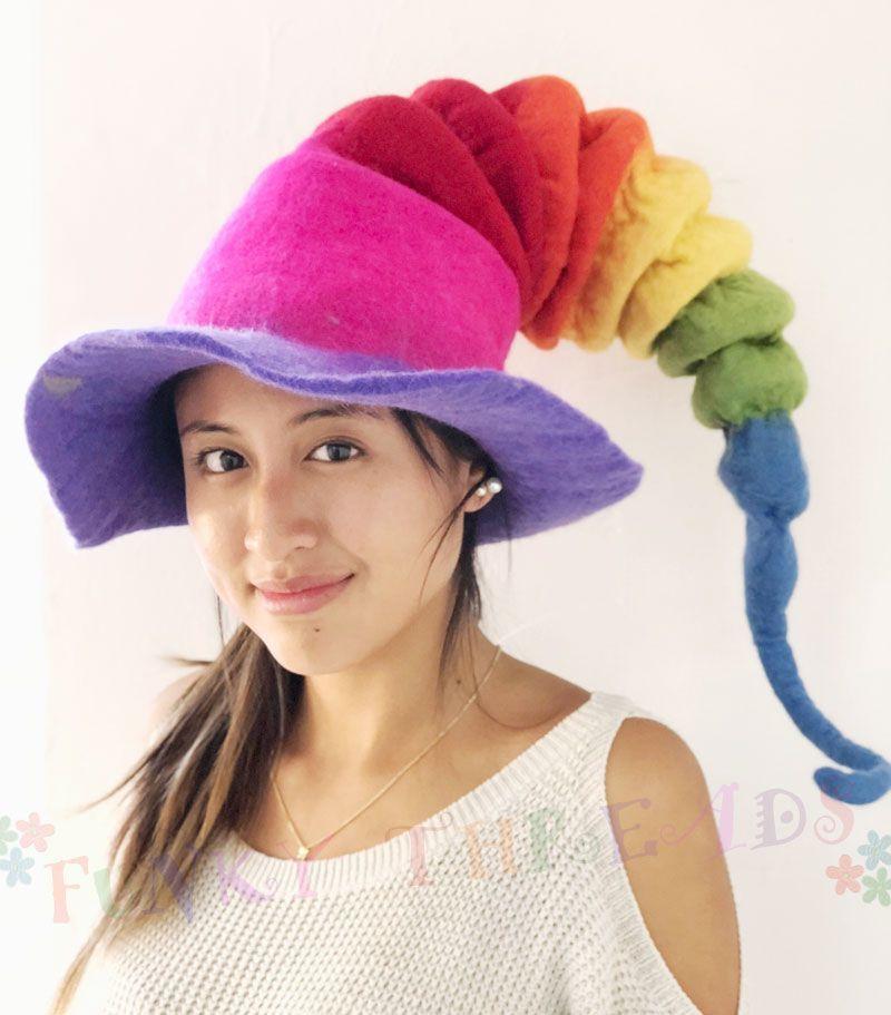 Rainbow spiral felt hat