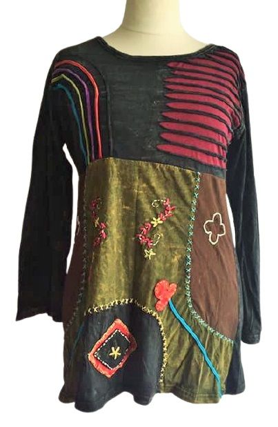 Applique, embroidered dress from Nepal
