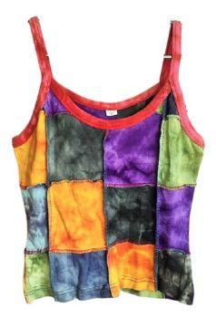 Subtle tie dye patchwork vest top approx size 10-12