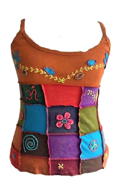 Funky hippie top, patchwork on the front with embroidery and appliques  app