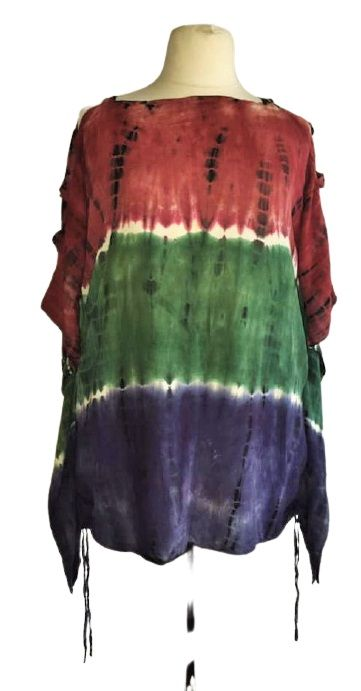Tie dye open arm top with ruched sides RAPP