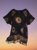 Black sun  funky hippy batik plus size top