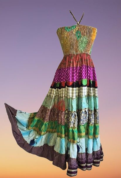 Boho silk SARA tiered dress 8-12