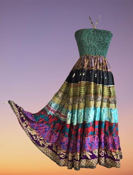 Boho silk SARA tiered dress 8-10