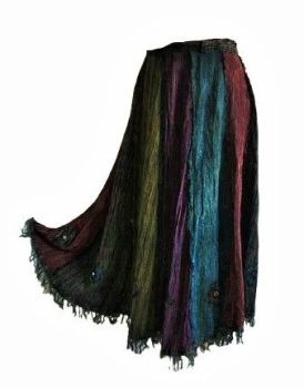 Hamari very long embroidered and mirrored detail wrap over skirt with fringing