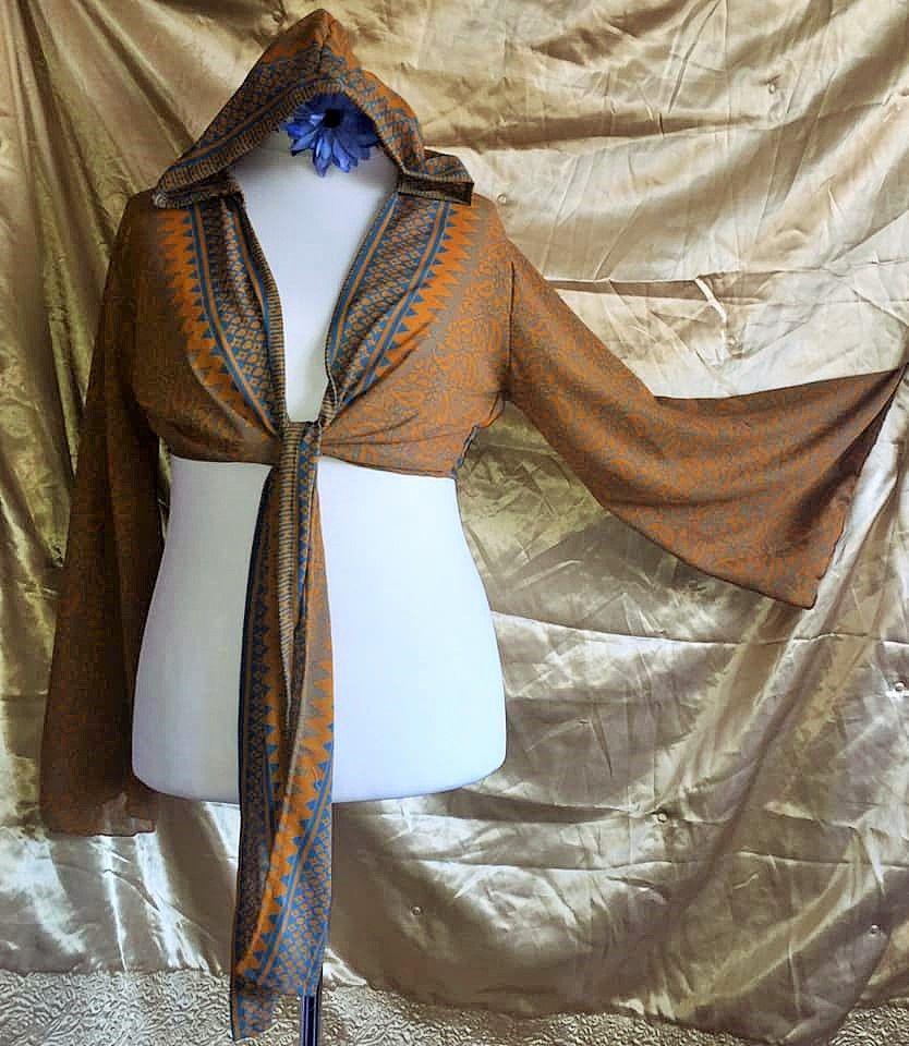 Sari bell sleeve  hooded wrap Tia top 12-16