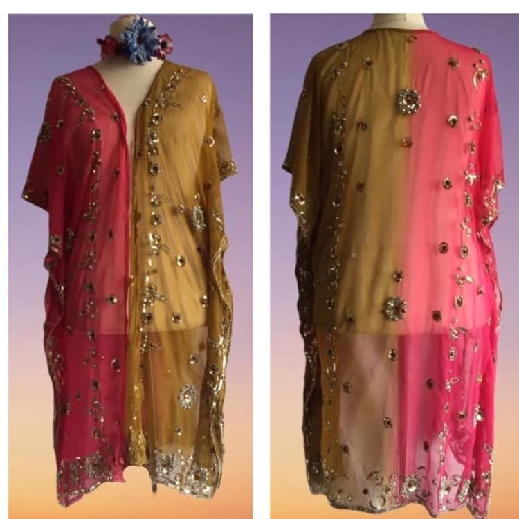Beautiful sheer beaded and sequined kaftan top