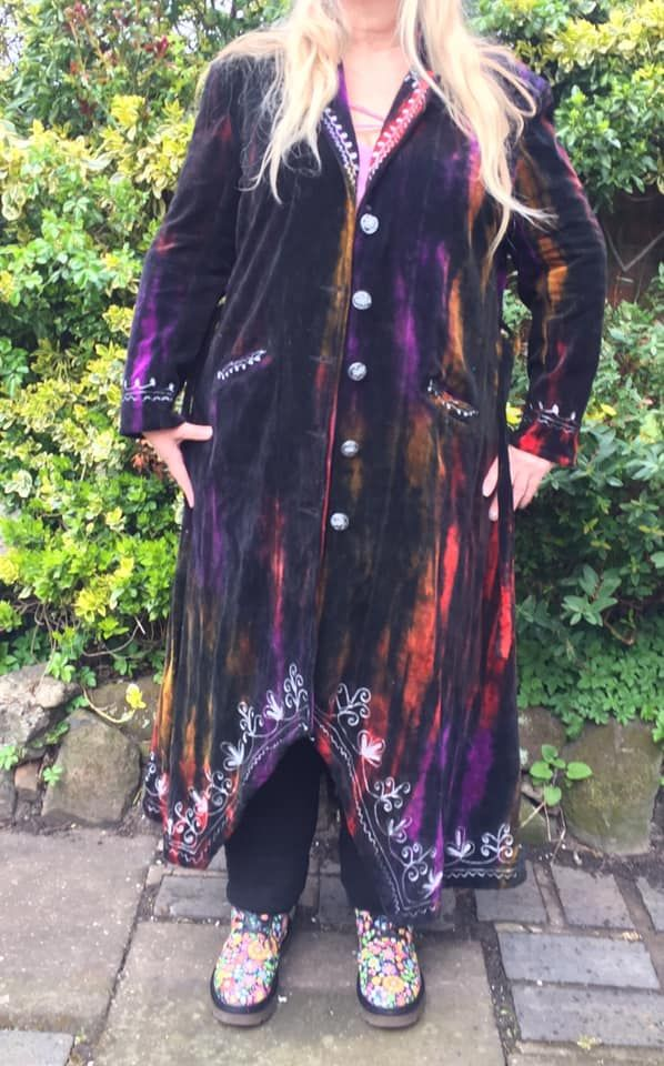Gorgeous velvety tie dye steampunk /hippy jacket plus size /unisex