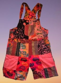 Pretty boho  festival hippy patchwork plus size dungaree shorts [waist 42 inches]