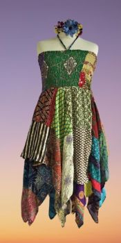 Double layer patchwork Rosie dress or wear as a skirt [bust up to 40 inches]