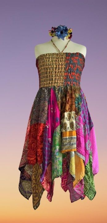 Double layer patchwork Rosie dress or wear as a skirt [bust up to 40 inches