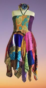 Double layer patchwork Rosie dress or wear as a skirt [bust up to 42 inches]