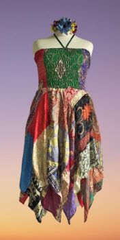 Double layer patchwork Rosie dress or wear as a skirt [bust up to 44 inches]