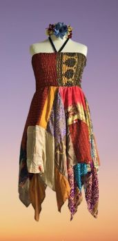 Double layer patchwork Rosie dress or wear as a skirt [bust up to 46 inches]