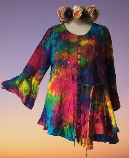 Gorgeous tie dye sequin front top 12-14