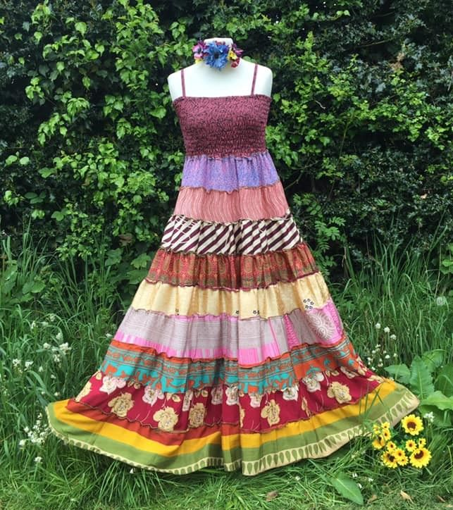 Angelina recycled silk folksy tiered dress