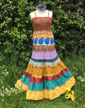 Angelina recycled silk folksy tiered dress [12-18 see measurements]