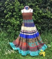 Angelina recycled silk folksy tiered dress 12-16 see measurements