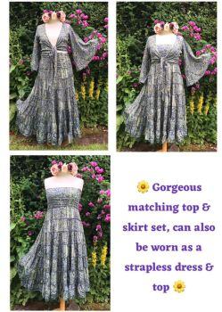 Stunning  boho matching skirt and top set can be worn as dress and top