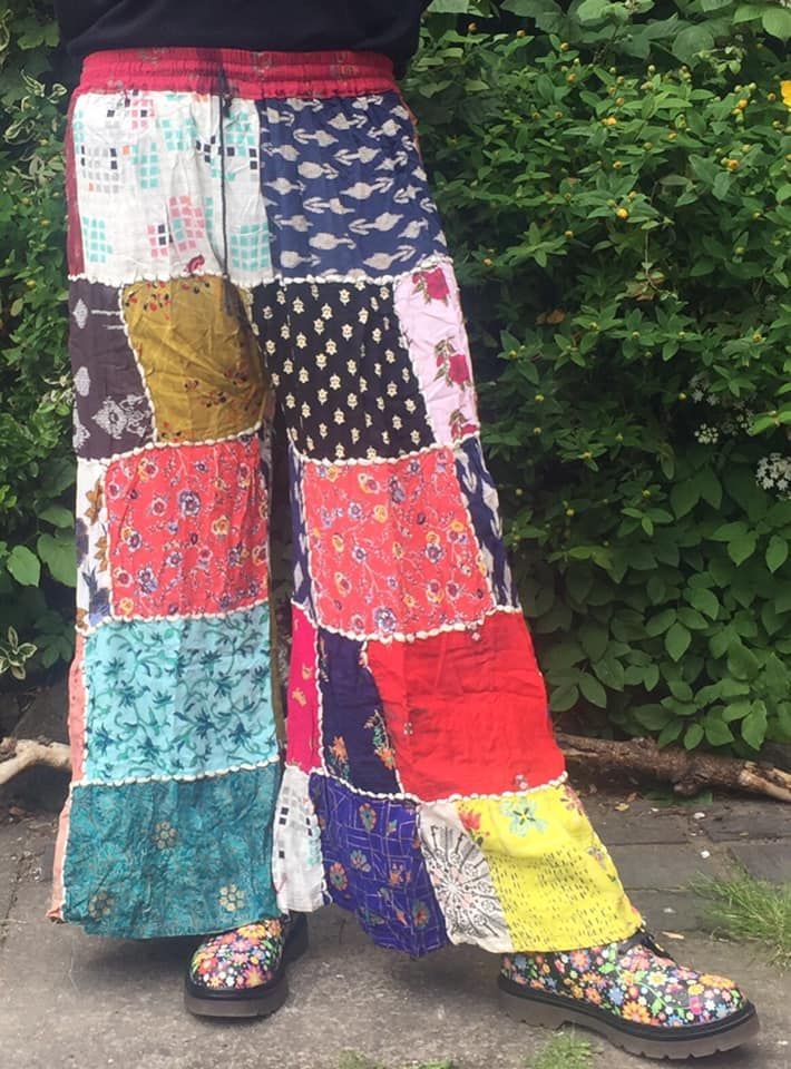 Funky hippie patchwork flared trousers