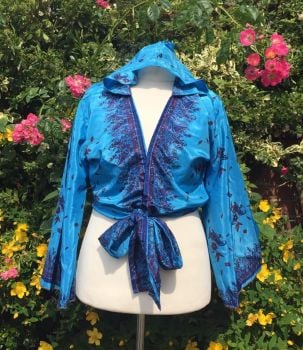 Sari bell sleeve  hooded wrap Tia top 14-18