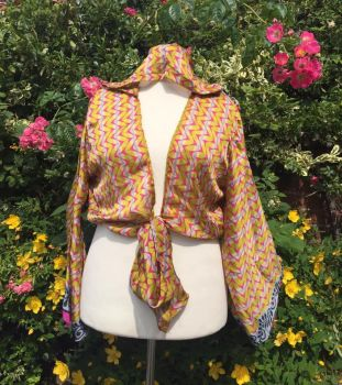 Boho  bell sleeve hooded wrap Tia top 18-22
