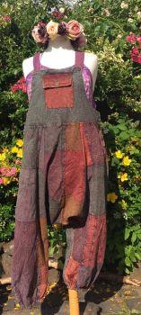 Harem stone wash patchwork dungarees  3/4 leg   16-20