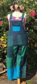 Straight leg  stone wash  patchwork dungarees     16-20