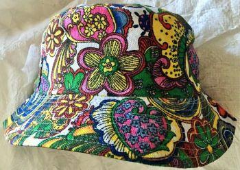 Hippie flower power tie dye  bucket hat