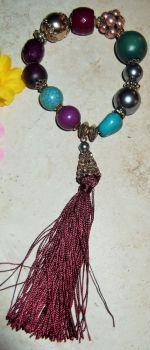 Hippy chick beaded tassled bracelet