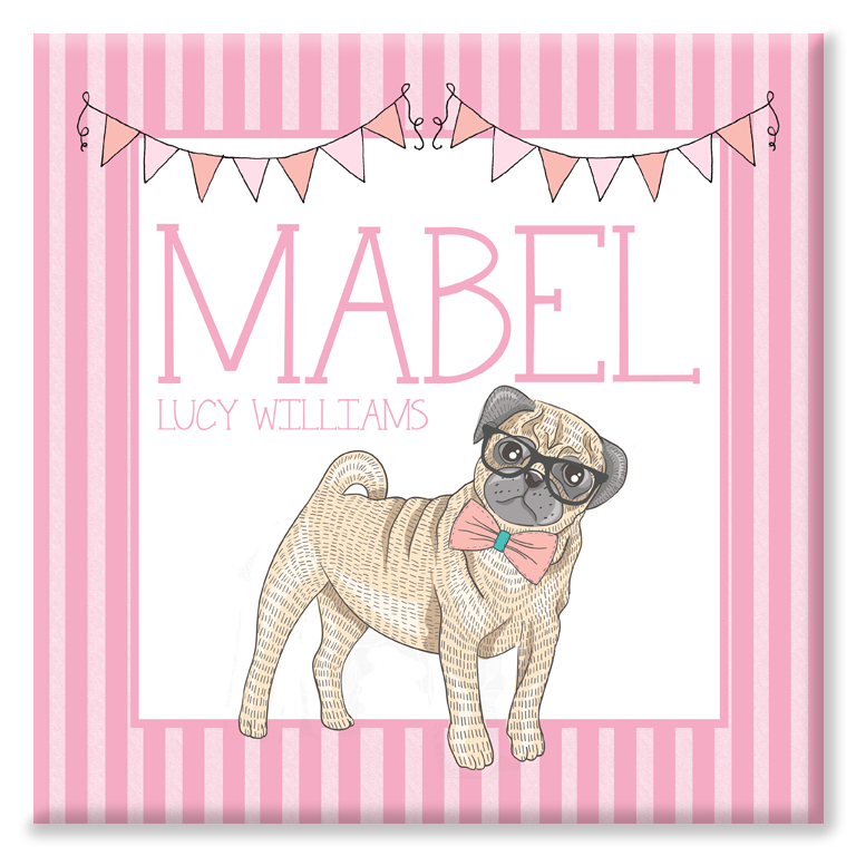 Candy Stripe personalised name canvas print pug bulldog