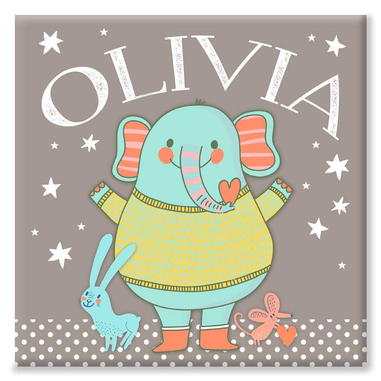 Elephant Friends personalised name canvas print for baby