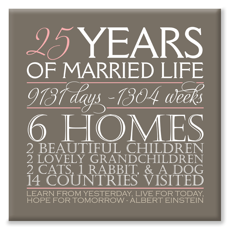 Our Anniversary personalised anniversary canvas gift