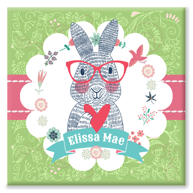 Spectacled Rabbit personalised name print little girl