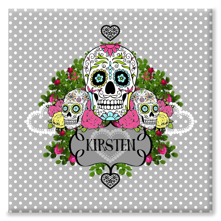 Sugar Skull day of the dead personalised canvas print gift