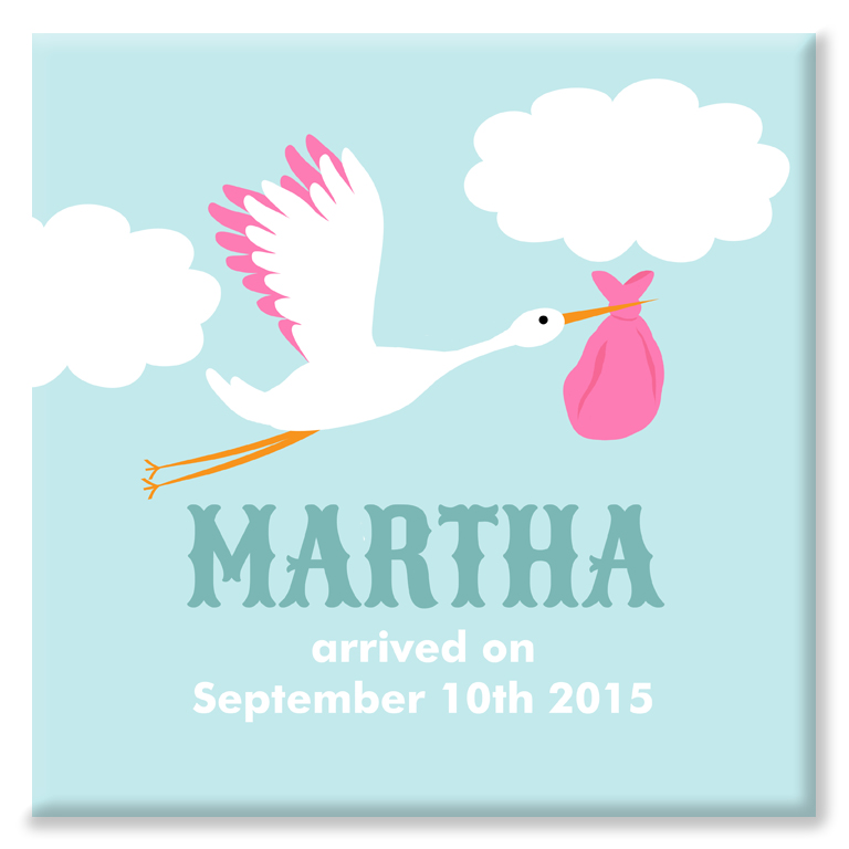 Stork personalised nursery new baby print