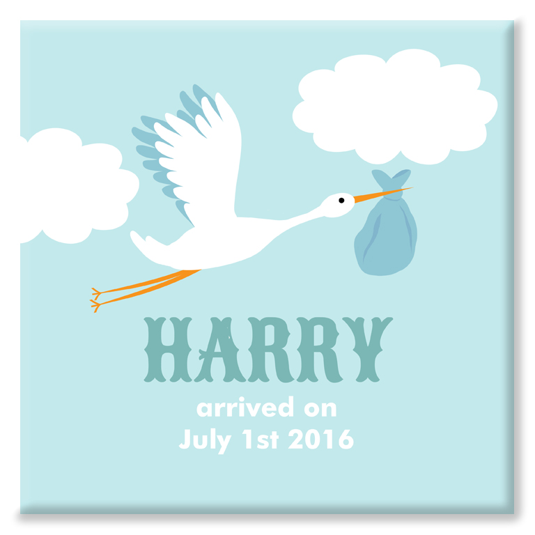 Stork personalised name nursery print