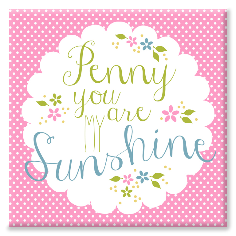 You are my Sunshine personalised romantic canvas gift