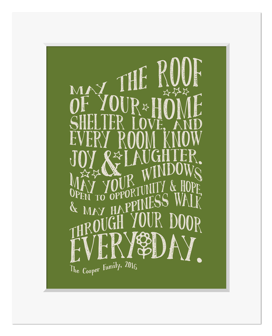 New Home Personalised Print Mount Green Web
