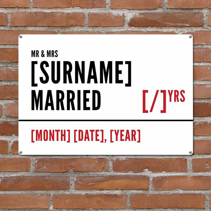 Wedding Anniversary gift personalised metal street sign