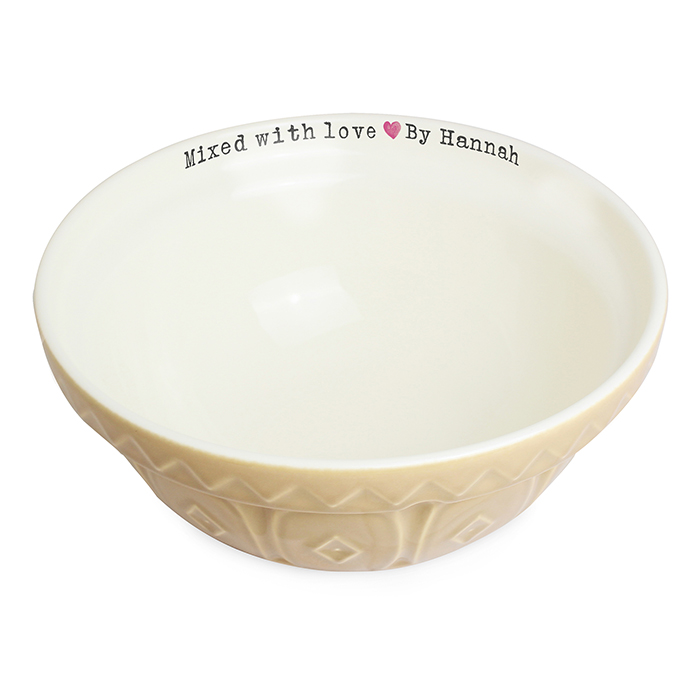 Personalised mixed with love ceramic mixing bowl